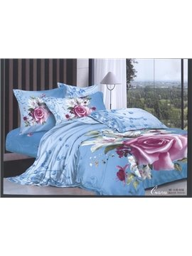 Pink Rose Flower Print Light Blue Color 4 Piece Duvet Cover/Bedding Sets