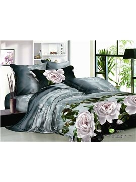 New Arrival Lovely Flower Print 4 Piece Bedding Sets/Duvet Cover Sets