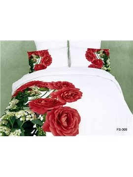 100% Cotton Red Roses Print Pure White Color 4 Piece Bedding Sets Duvet Cover/Comforter Sets