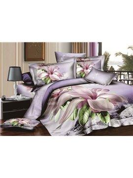 Lilac Orchid Big Flower Print 4 Piece Duvet Cover Sets