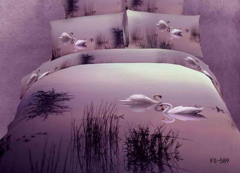 White Swan in the Lake Print 4 Piece Bedding sets