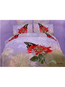 Lovely Butterfly with Red Flowers Print Duvet Cover 4 Piece Bedding Sets