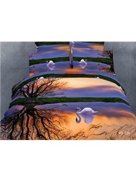 Beautiful And Remantic White Swan Print 4 Piece Bedding Sets/Duvet Cover Sets