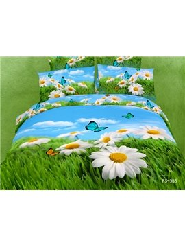 White Cosmos and Butterfly with Grass Print 4 Piece Bedding Sets/Duvet Cover Sets