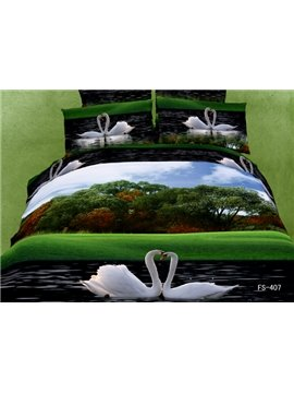 Lovely White Swan and Lake Scene Sets 4 Piece Bedding Sets