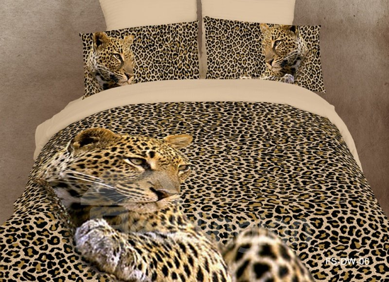 Amazing leopard print 4 piece bedding sets duvet cover bedding sets - Cheetah bedspreads ...