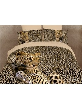 Amazing Leopard Print 4 Piece Bedding Sets/Duvet Cover Bedding Sets