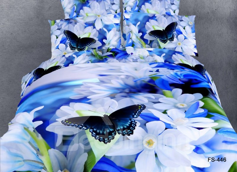 white flower and butterfly print 4 piece bedding sets