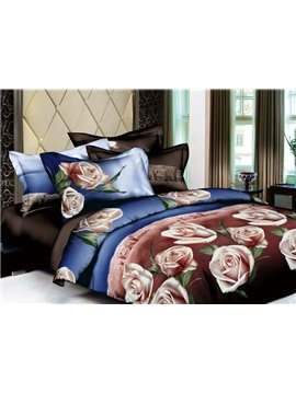 100% Cotton Classic Tone with Blooming Pink Flowers 4 Pieces Bedding Sets
