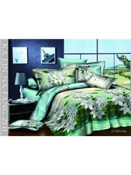 High Quality 100% Cotton Fresh Tone With White Lily 4 Pieces Bedding Sets