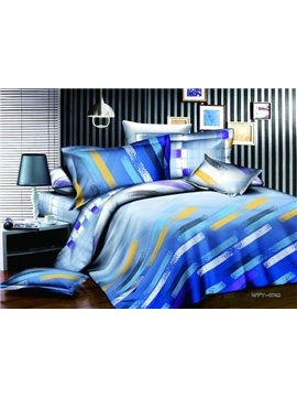 New Arrivals Modern Style Flowing Colorful Lines 4 Pieces Bedding Sets