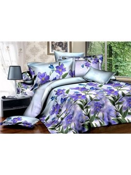 Dreamlike Romantic Purple Flowers 100% Cotton Hot Sell 4 Pieces Bedding Sets