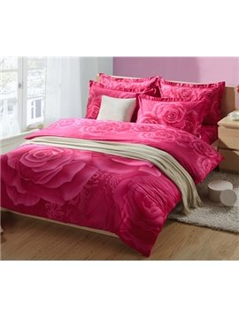 2013 Hot Sell 100% Cotton Beautiful Printed Pink Roses 4 Pieces Bedding Sets