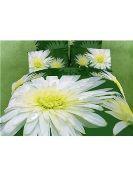 Big Chrysanthemum Print Fresh Green Color 4 piece Bedding sets/Duvet Cover Sets