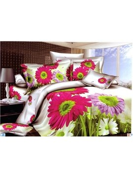Beautiful Big Red and Purple Flowers 3D Print 4 Piece Bedding Sets/Duvet Cover Sets