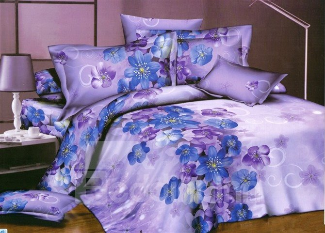 purple and blue bedding little blue and purple flower