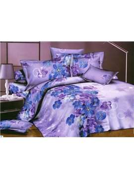 Little Blue and Purple Flower Print 4 Piece Bedding Sets/Duvet Cover Sets