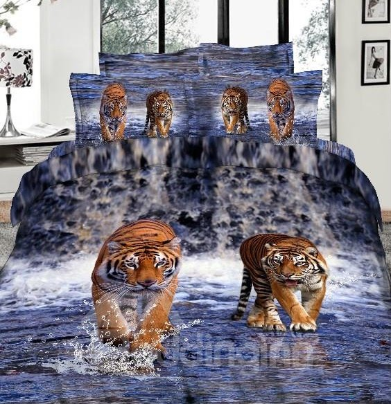 imperial lifelike tiger 3d printed 4 piece cotton duvet