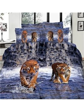 Amazing Lifelike Tiger in Water 3D Print 4 Piece Bedding Sets Duvet Cover Sets