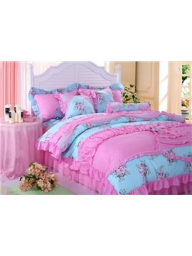 Beautiful Little Flower Print Princess Style 4 Piece Bedding Sets/Duvet Cover Sets