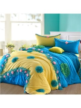 New Arrival  100% Cotton Princess Flower  4 PiecesBedding Sets