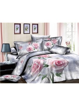 Beautiful Pink Rose Print 4 Piece Bedding Sets/Duvet Cover Sets