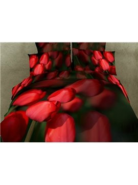 Amazing Realistic Red Tulip Flower Print 4 Piece Bedding Sets/Duvet Cover Sets