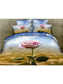 Pink Rose 3D Print 4 Piece Bedding Sets/Duvet Cover/Comforter Sets