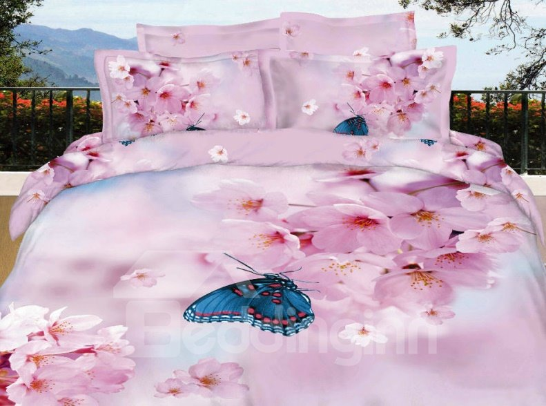Pink Pear Blossom with Butterfly 3D Print 4-Piece Cotton Duvet Cover Sets beddinginn