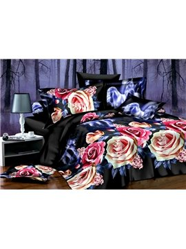 New Arrival Roses Flower Print 4 Piece Bedding Sets/Duvet Cover Bedding Sets