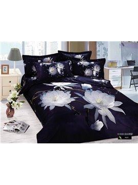 Elegant White Flower Print 4 Piece Bedding Sets/Duvet Cover Sets