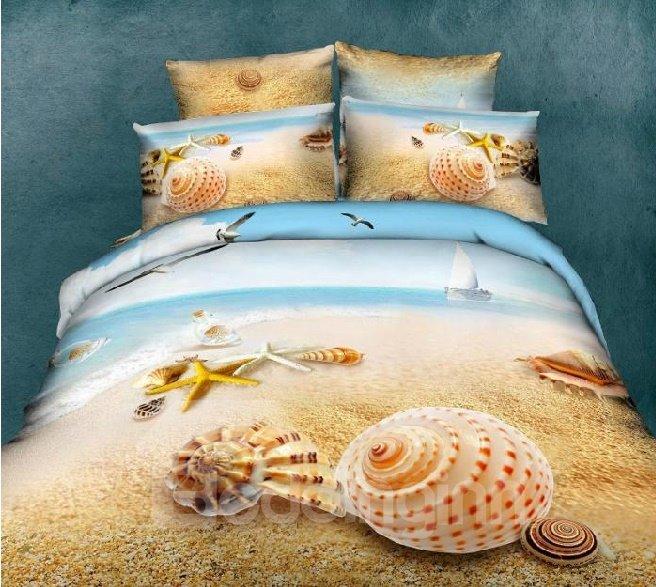 Unico Starfish e Shell sulla spiaggia di stampa 4 pezzi Bedding / Set copripiumino