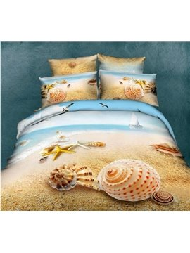 Unique Starfish&Shell on Beach Print 4 Piece Bedding Sets/Duvet Cover Sets