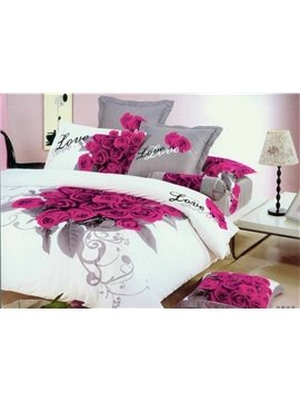 A Bunch Of Pink Rose Print 4 Piece Bedding Sets/Duvet Cover Sets