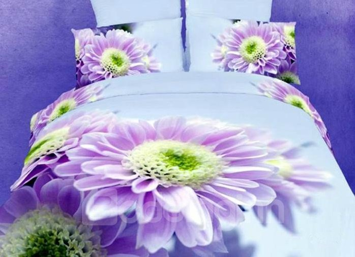 Hot Selling Big Purple Flower Print 4 Piece Bedding Sets/Duvet Cover