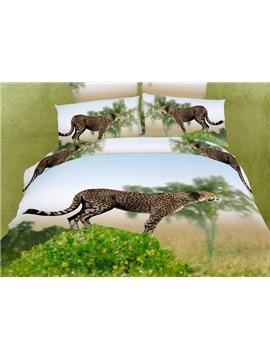 Lifelike Leopard 3D Reactive Printing 4 Piece Duvet Cover Bedding Sets