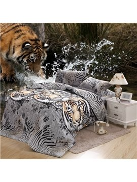 100% Cotton Wild Tiger Print 4 Piece Bedding Sets/Duvet Cover Sets