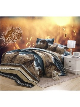 Unique Lifelike Lion 3D Print  4 Piece Bedding Sets/Comforter Sets