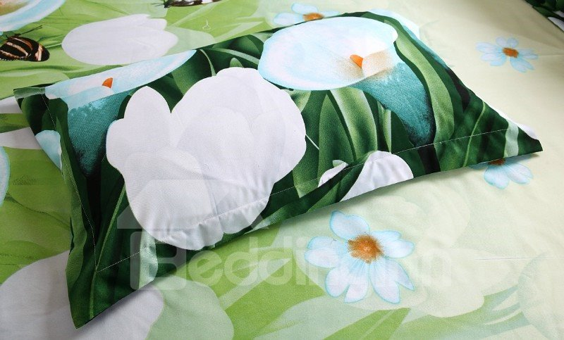High Quality Elegant Calla Lily Print 4 Piece Bedding Sets