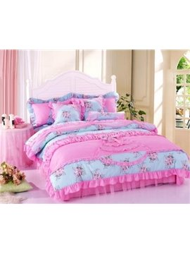 Romantic Princess Style Little Pink Flower Bedding Sets 4 Piece Duvet Cover Sets