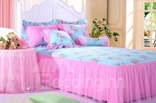 Cinderella Style Little Pink Flower 4 Piece Duvet Cover