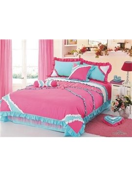 Romantic Princess Style Cute Lace  Bedding Sets 4 Piece Duvet Cover Sets