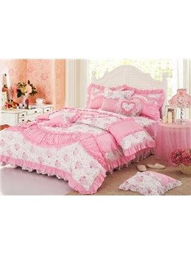 Romantic Pricess Style Lovely Pink Color Bedding Sets 4 Piece Duvet Cover Sets