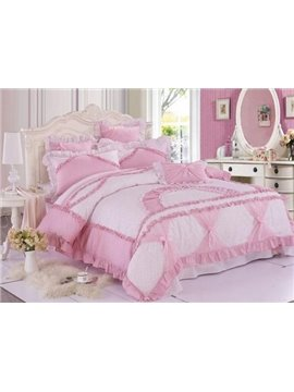 Sweet Pink Color Cute Pricess Style Bedding Sets 4 Piece Duvet Cover Sets