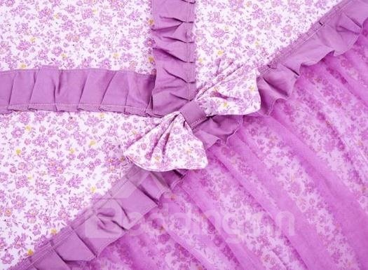 Romantic Purple Lace 4-Piece Cinderella Duvet Cover Sets