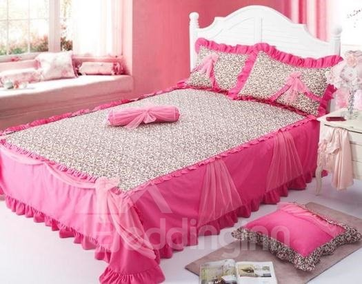 Romantic Dark Pink Color with Leopord Print Pricess Style Bedding Sets 4 Piece Duvet Cover Sets