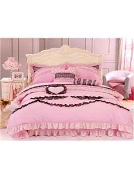 Lovely Pink Lace 4 Piece Cotton Duvet Cover Sets