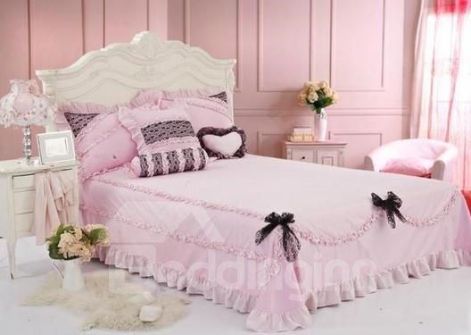 Lovely Pink Lace 4 Piece Cotton Duvet Cover Sets