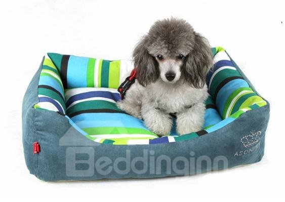 New Arrival Green and Blue Stripe Style Luxury Fashion Pet Bed