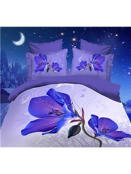 Amazing Purple Magnolia Flower Print 4 Piece Bedding Sets